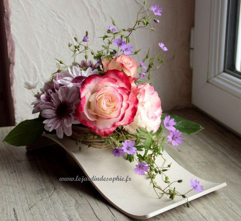 Composition de fleurs du jardin dans contenant compostable.