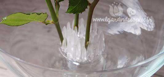 Mise à place de trois tiges de roses verticales